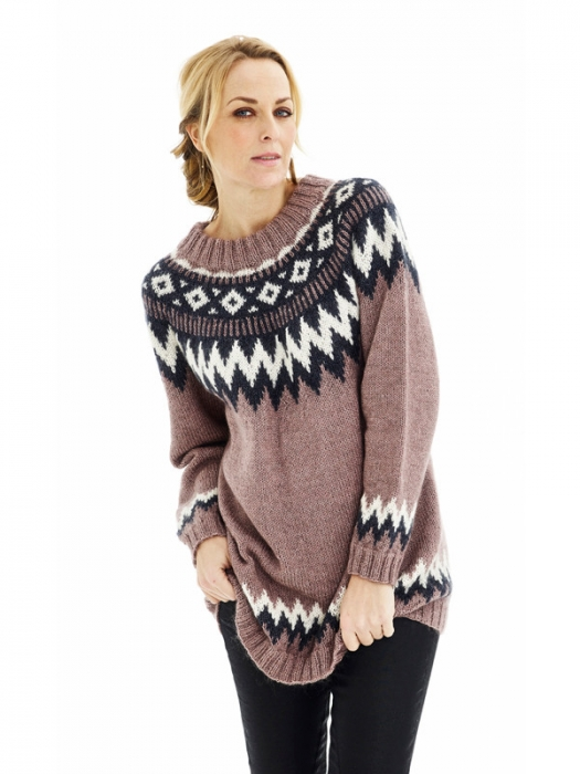 1509 Oversize tröja med nordiskt mönster